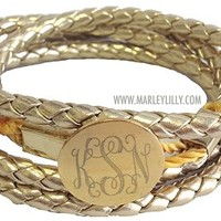 Monogrammed Hamptons Gold Braided Wrap Bracelet | Marley Lilly