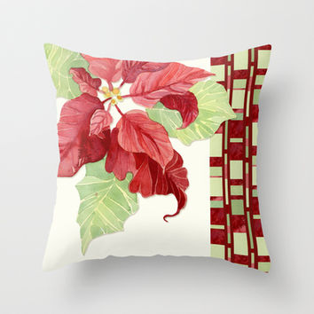 Elegant Single Poinsettia Modern Stripe Christmas Winter Holidays Throw Pillow by Audrey Jeannes
