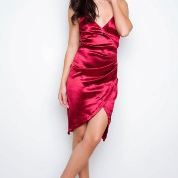 Aubrey Satin Surplice Dress - Burgundy