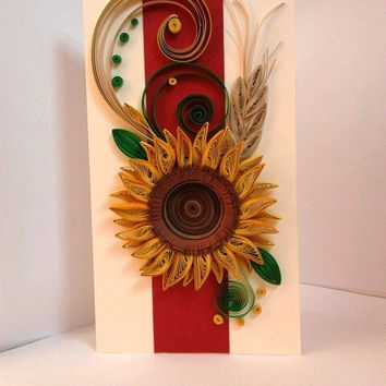 Unique handmade greeting card.  Birthday card, Wedding card, Anniversary card, quilling