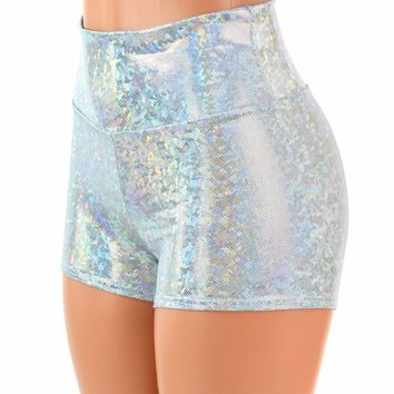 Frostbite Holographic High Waist Shorts