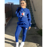 Champion tide brand female letter printing leisure sports two-piece blue