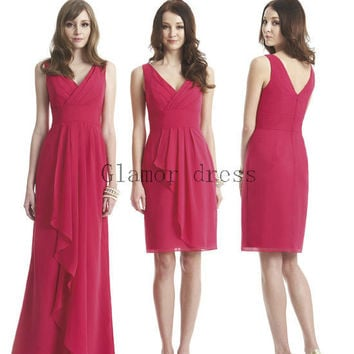 long chiffon bridesmaid dresses   knee length v-neck wedding prom gowns    cheap fuchsia bridesmaid dress hot