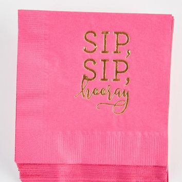 Sip, Sip, Hooray! Pink n' Gold Party Napkins