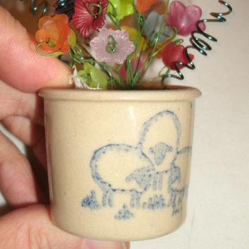 Amish Minature flower pot container with lucite floral arrangements - upcylcled and new glass, ceramic, pottery, metal floral pot, cute gift