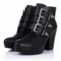 Buy FRIDA Block Heel Platform Ankle Boots Black Leather Style Online