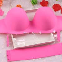 Sexy Self Adhesive Magic Push Up Bra Strapless Invisible Bras Side Closure Bras Cup B