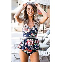 Navy Floral Peplum Swimsuits