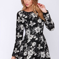Tapestry Time Black and Ivory Floral Print Dress