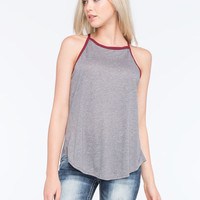 H.I.P. Solid Womens Ringer Tunic Tank Charcoal  In Sizes