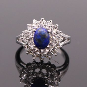 Natural Lapis Lazuli stone white gold plated ring