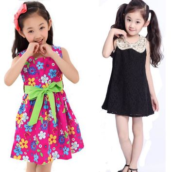 Lace Flowers Toddler Girls Summer Dress Teenagers Princess Dresses Cotton Kids Costume Big Children Clothes 2017 Age 10 12 Years