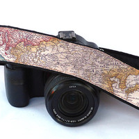 World Map Camera Strap, Camera Neck Strap, Canon camera strap, Nikon camera strap,   Gift For Photographer, For Him, For Her. Etsy Gifts