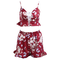 Floral Print 2 Piece Sets Lace Up Tops Loose Fit Shorts Boho Sunshine Outfit 2016 Spring Summer Beach Women Jumpsuits