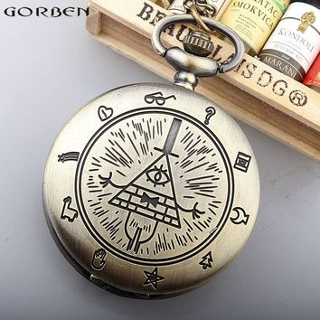 Vintage Bronze Triangle Pattern Quartz Pocket Watch Retro Men Women Pocket Watches With Necklace Chain Best Gift Boys Children