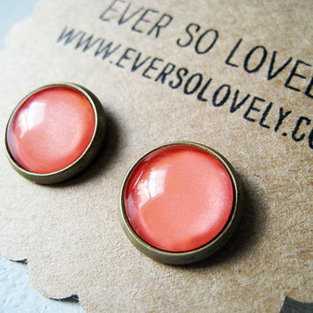 large coral pink earrings  handmade salmon pink by EverSoLovely