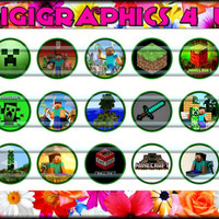 Minecraft 1 inch Bottle Cap Images for Hairbows, Bracelets, Jewelry, Keychains, Cupcake Toppers and More