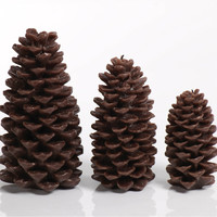 Pine Cone Candle - Brown - Set of Four