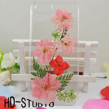 Pressed real flower iphone 5s case, iphone 6/ 6s plus case real flower iphone 5 /5c / 4 case - pink Delphinium and leaf