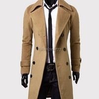 New Men's Stylish Double Breasted Overcoat Trench Coat Winter Long Jacket Shirt