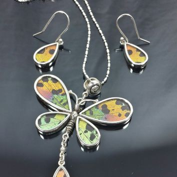 Libelula (dragonfly) pendant and earrings and bracelet set. Real Butterfly wings.