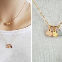 Three Hearts Necklace, Heart Pendant Necklace, Three Sisters Necklace, Mother Necklace, Gift for Sister or Mom, Three Pendants Chain / N317