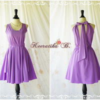 A Party Kate Halter Party Dress Lilac Prom Party Dress Lilac Purple Bridesmaid Dress Party Backless Dress Purple Halter Dress Custom Made