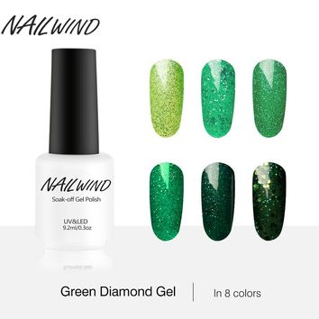 NAILWIND 9.2ML Hot Fashion Green Blue Red Yellow Four-color Diamond Series UV LED Semi-permanent Nail Gel Polish