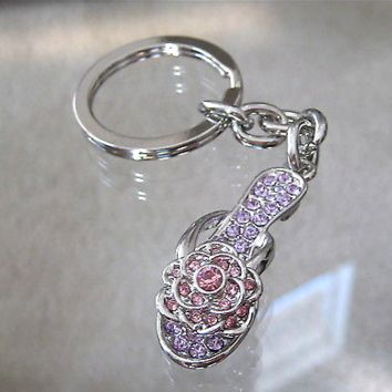 Slipper Shoe Sandal Keychain  with Swarovski Rhinestones