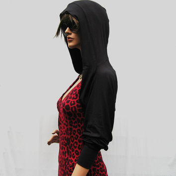 Black Shrug Bolero With Hood (Organic Cotton)