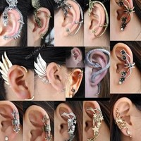 Gothic Rock Punk Temtation Metal Dragon Wing Snake Ear Cuff Wrap Clip Earring