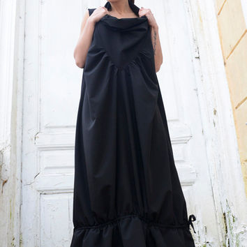NEW!Black Maxi Dress/Sleeveless Loose Kaftan/Plus Size Black Dress/Sleeveless Collar Spring Dress/Extravagant Oversize Dress/Black Draping