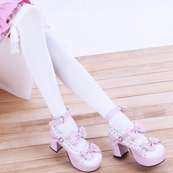 Lolita Cotton Lace Bow Over Knee Socks Boot Socks Thigh Highs