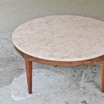 Stunning Italian Marble and Walnut Coffee Table