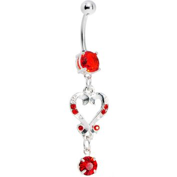 Ruby Red Gem Victorian Heart Dangle Belly Ring
