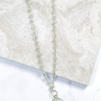 Long Beaded Necklace W/ Stone, Sage