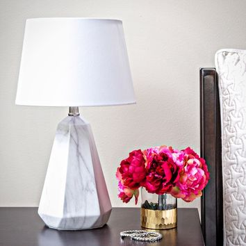 White Linen 19-inch High Table Lamp with Faux Marble Base | Overstock.com Shopping - The Best Deals on Table Lamps