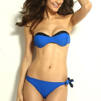 Blue Strapless Bikini Swimsuit with Color Black Detail