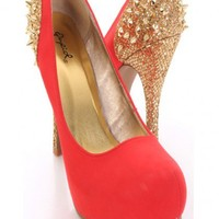 Coral Gold Spike Studded Smooth Faux Suede Pump Heels
