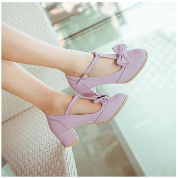 Size 31-43 Women Autumn Sweet Bow Thick Heel Lolita Shoes Princess Pumps Students Leather Shoes   F417