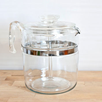 Pyrex Flameware 9 Cup Stovetop Percolator or Tea Pot, Complete, Glass Handle, Flame Logo