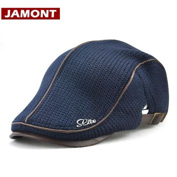 [JAMONT] 2017 Winter Hats for Men Cap Beret Warm Berets Men's Knitted Hat Visors Winter Flat Caps England Style Casquette