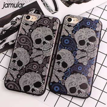 Slim Case for iPhone X 8 7 Plus SE 5S Skull Silicone Phone Cases for iPhone 6 6S 7 Plus Soft Back Cover Phone Protective
