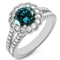 1.69ct Fancy Blue Diamond Halo Engagement Ring With Split Shank