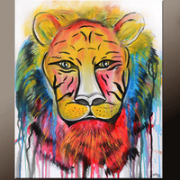 Abstract Canvas Art 16x20 Original Contemporary Modern Tiger Wall Art Paintings by Destiny Womack - dWo -  The Untameable II