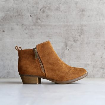 faux suede double zip riding bootie - tan