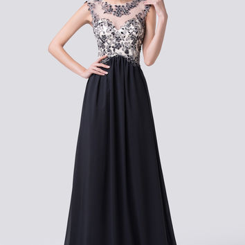 Black Mesh Lace Sleeveless Empire Waist Evening Dress