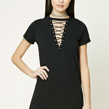Crisscross Lace-Up Dress