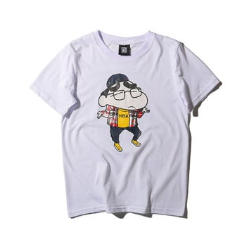 Anime Cartoons Pen Stylish Print Cotton Short Sleeve Slim Men's Fashion T-shirts [6544718083]