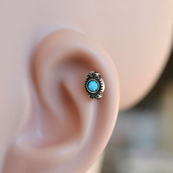 Tragus earring,opal cartilage earring,helix earring,bridesmaid earrings,bff gift